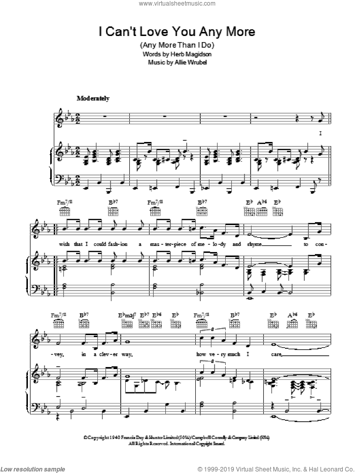 I Can't Love You Any More (Any More Than I Do) sheet music for voice, piano or guitar by Herb Magidson and Allie Wrubel. Score Image Preview.