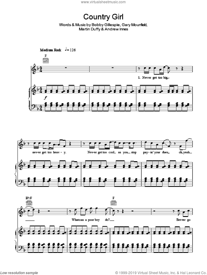 Country Girl sheet music for voice, piano or guitar by Primal Scream, Andrew Innes, Bobby Gillespie, Gary Mounfield and Martin Duffy, intermediate. Score Image Preview.
