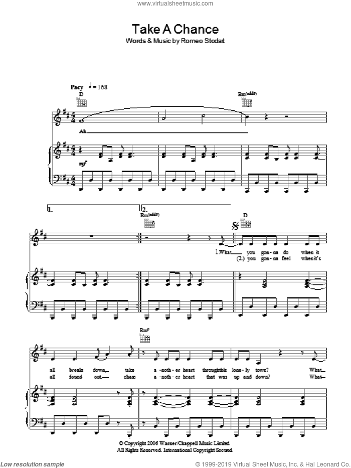 Take A Chance sheet music for voice, piano or guitar by Romeo Stodart. Score Image Preview.