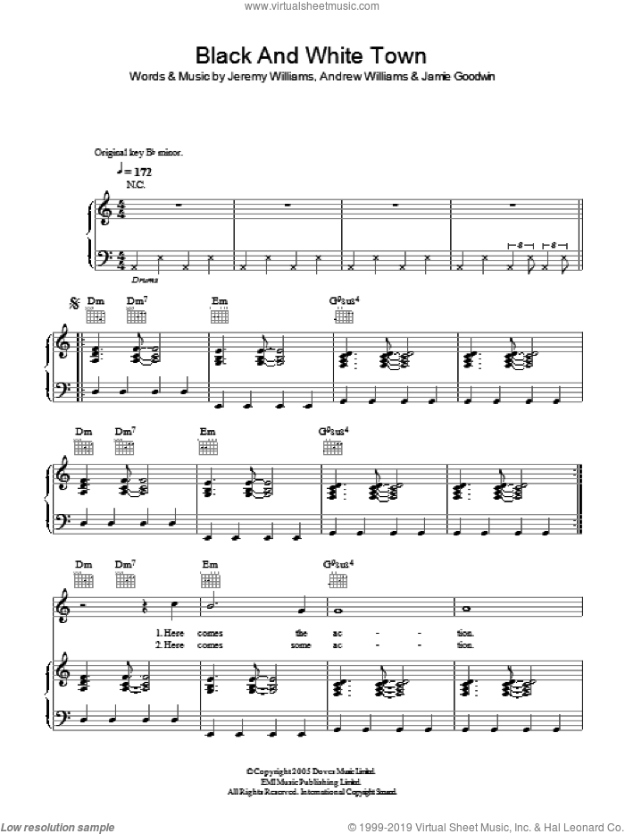 Black And White Town sheet music for voice, piano or guitar by Doves, Andrew Williams, Jamie Goodwin and Jeremy Williams, intermediate skill level