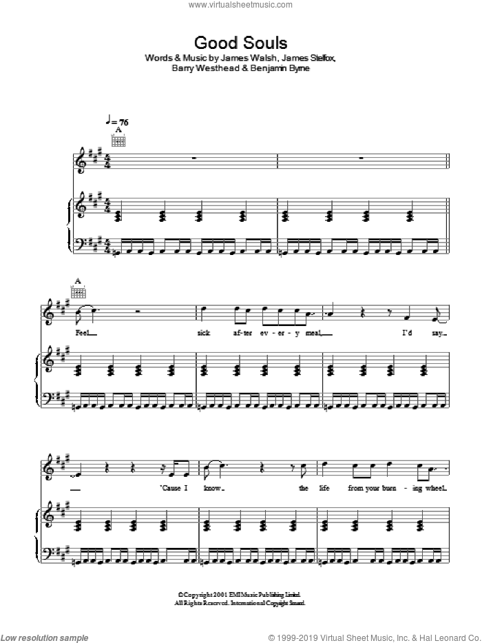 Good Souls sheet music for voice, piano or guitar by Barry Westhead