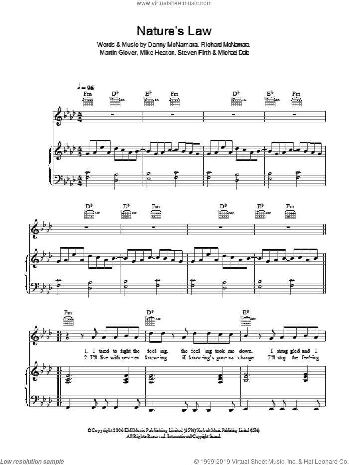 Nature's Law sheet music for voice, piano or guitar by Danny McNamara, Embrace and Richard McNamara
