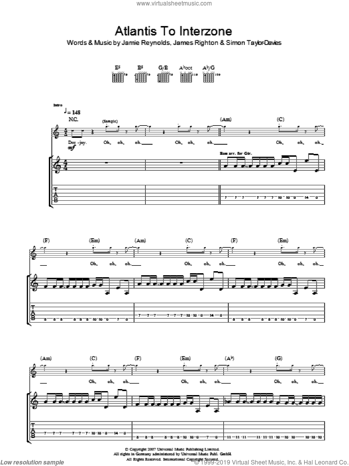 Atlantis To Interzone sheet music for guitar (tablature) by Klaxons, James Righton, Jamie Reynolds and Simon Taylor-Davies, intermediate