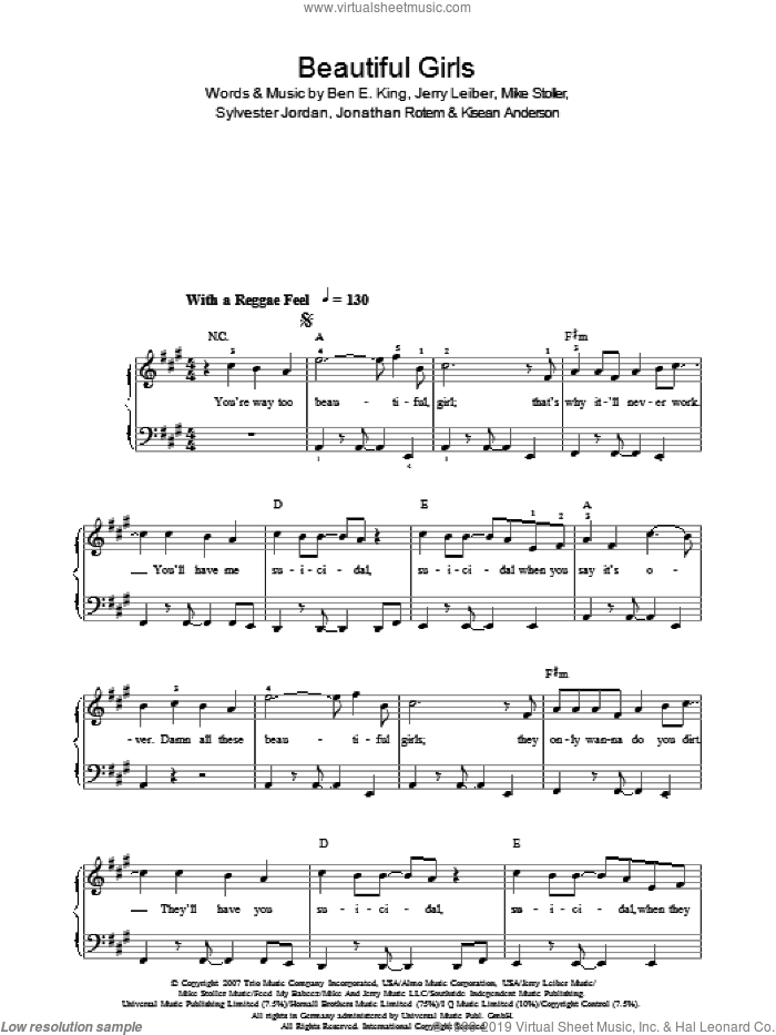 Beautiful Girls sheet music for piano solo by Ben E. King, Jerry Leiber, Jonathan Rotem, Kisean Anderson, Mike Stoller and Sylvester Jordan. Score Image Preview.