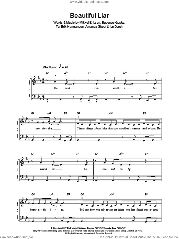 Beautiful Liar sheet music for piano solo by Amanda Ghost, Beyonce, Shakira, Beyonce Knowles, Ian Dench, Mikkel Eriksen and Tor Erik Hermansen. Score Image Preview.