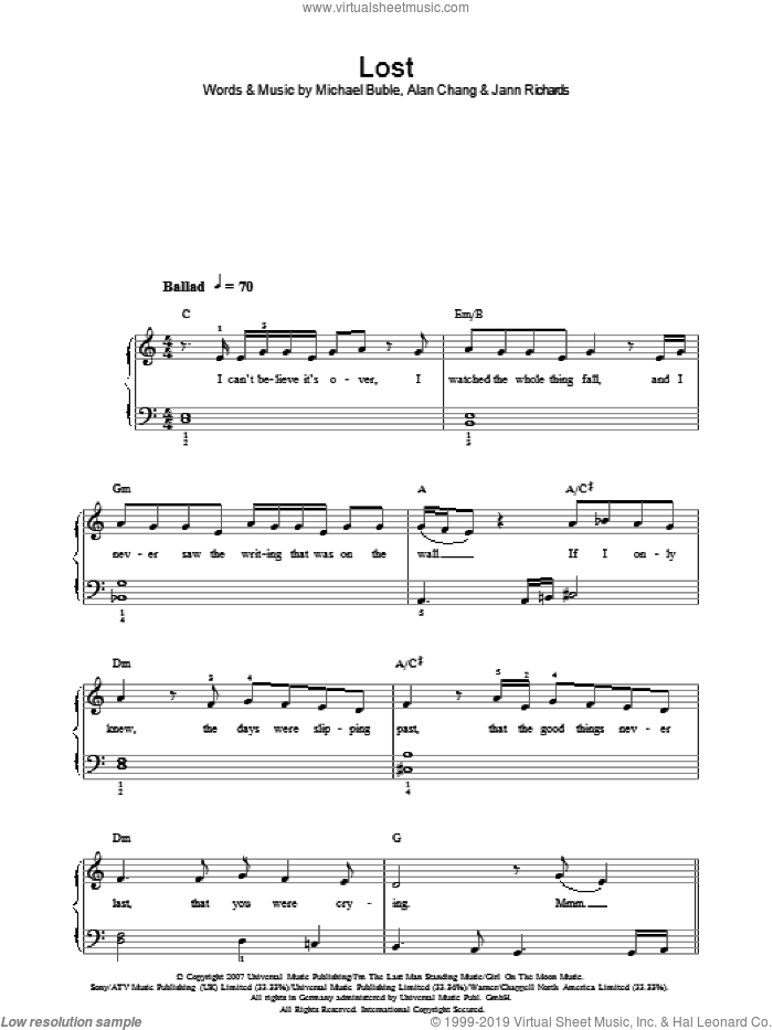Lost sheet music for piano solo by Michael Buble, Alan Chang and Jann Richards, easy skill level