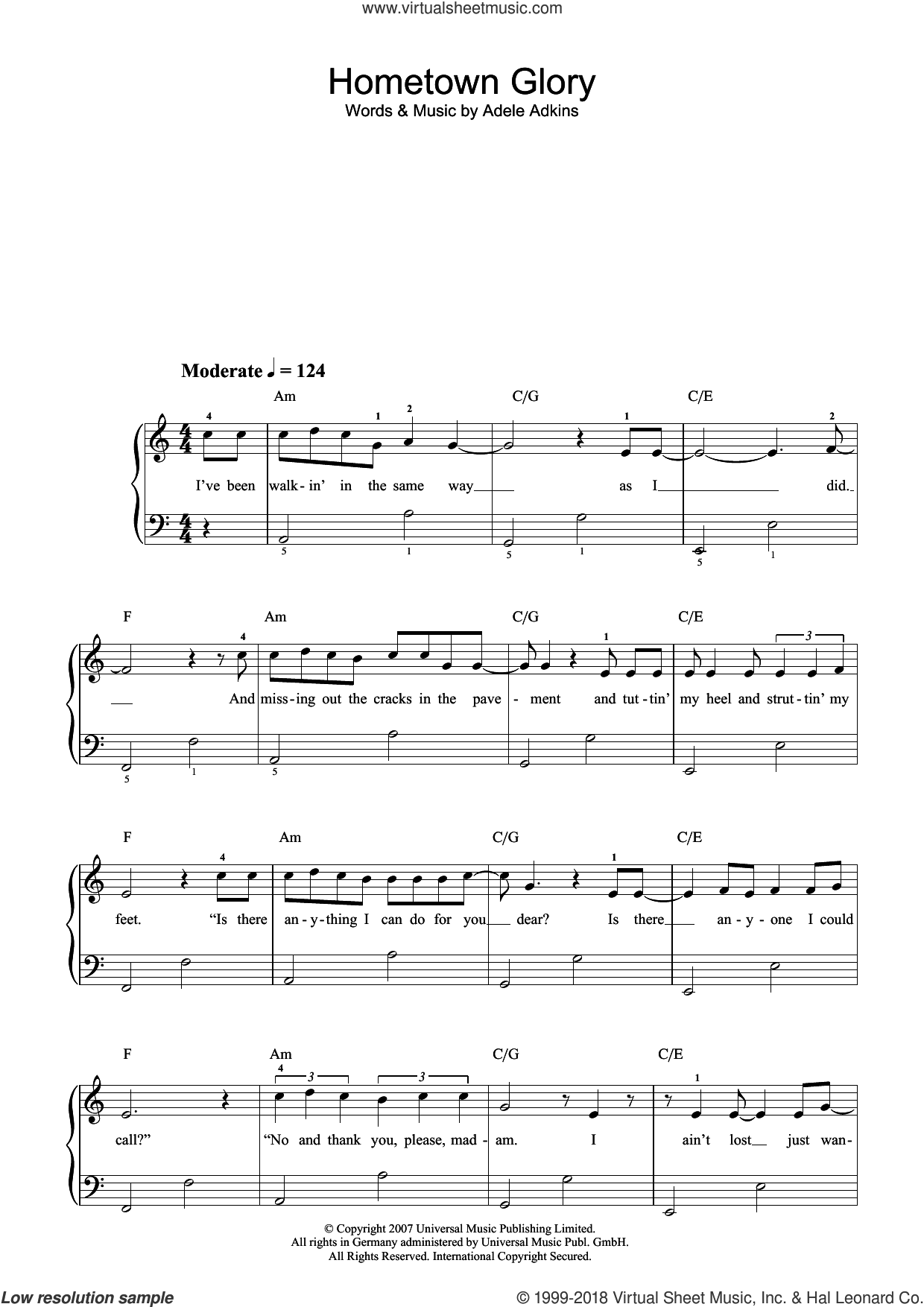 Hometown Glory (Radio Edit) sheet music for piano solo by Adele Adkins and Adele. Score Image Preview.
