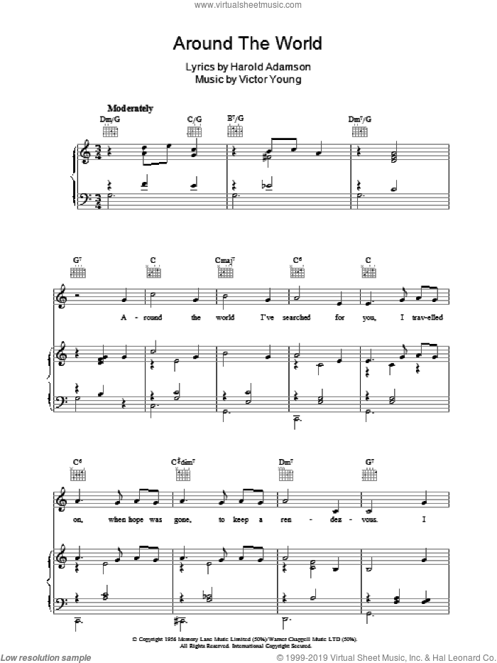 Around The World sheet music for voice, piano or guitar by Victor Young and Harold Adamson, intermediate skill level