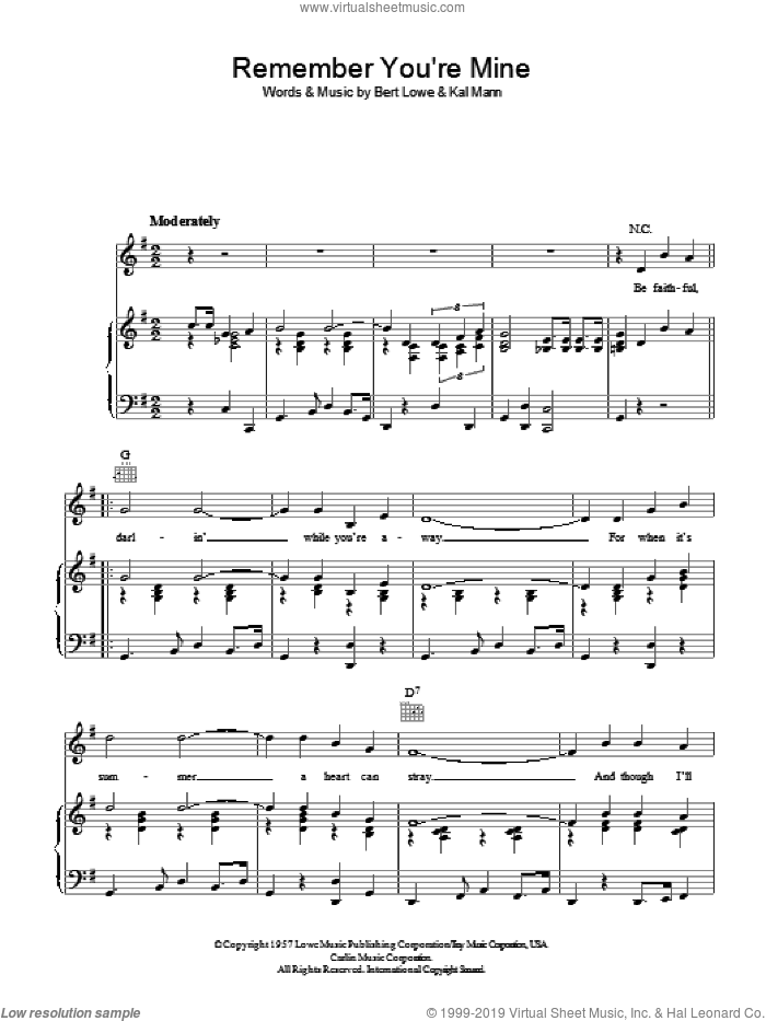 Remember You're Mine sheet music for voice, piano or guitar by Bert Lowe and Kal Mann. Score Image Preview.