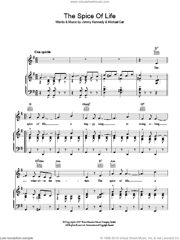 The Spice Of Life sheet music for voice, piano or guitar by Michael Carr and Jimmy Kennedy. Score Image Preview.