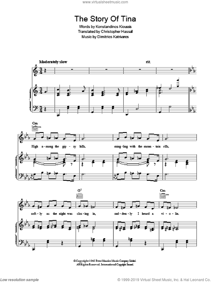 The Story Of Tina sheet music for voice, piano or guitar by Konstandinos Kioussis and Christopher Hassall. Score Image Preview.