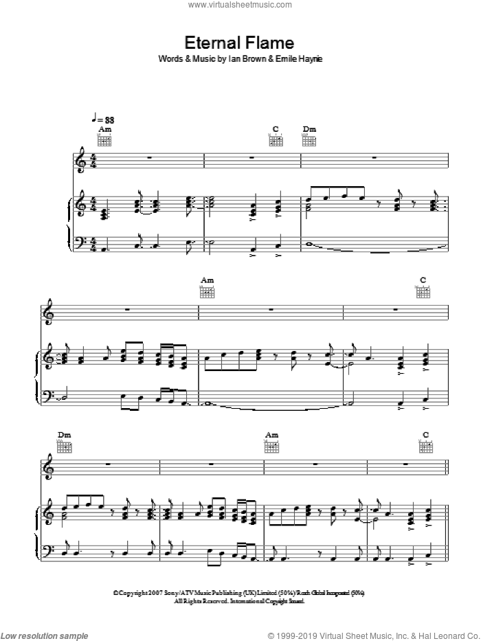 Eternal Flame sheet music for voice, piano or guitar by Ian Brown and Emile Haynie, intermediate. Score Image Preview.