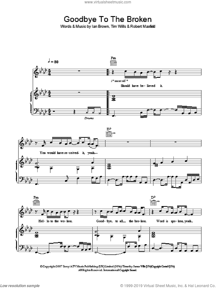 Goodbye To The Broken sheet music for voice, piano or guitar by Robert Maxfield, Ian Brown and Tim Wills. Score Image Preview.