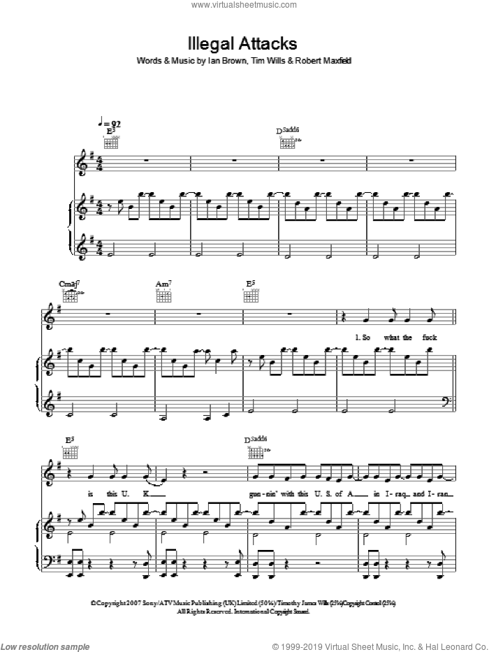 Illegal Attacks sheet music for voice, piano or guitar by Robert Maxfield