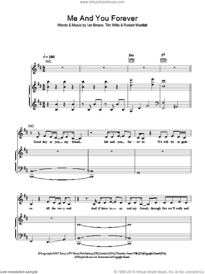 Me And You Forever sheet music for voice, piano or guitar by Ian Brown, Robert Maxfield and Tim Wills, intermediate skill level