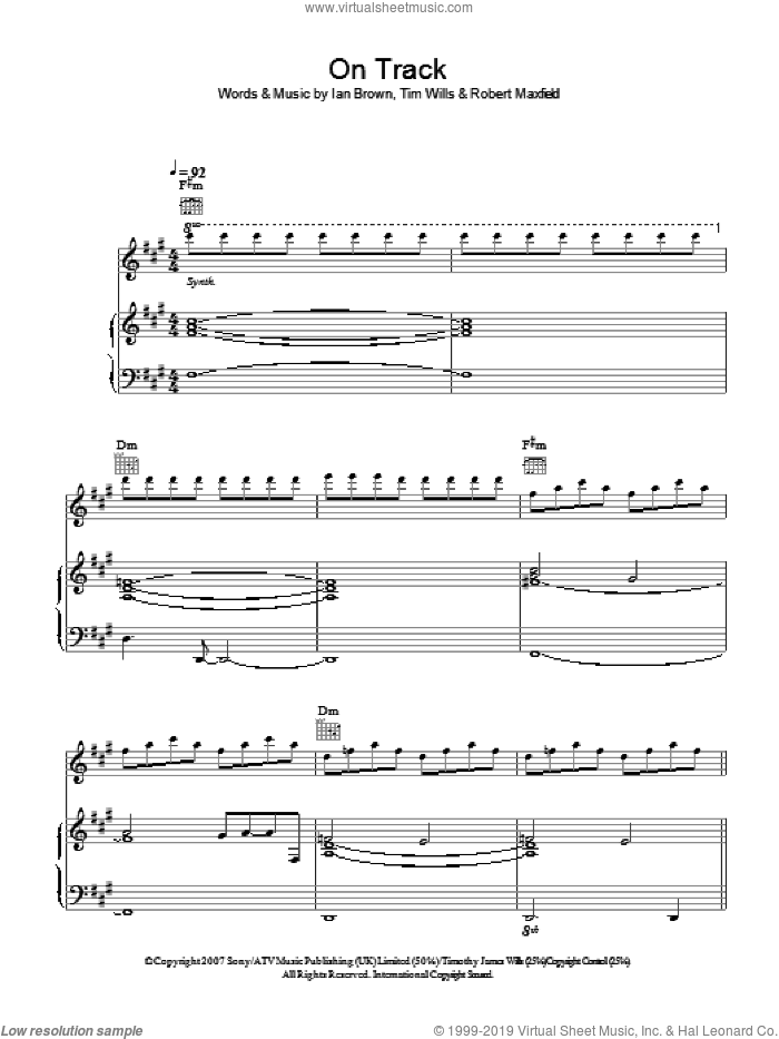 On Track sheet music for voice, piano or guitar by Ian Brown, Robert Maxfield and Tim Wills, intermediate. Score Image Preview.