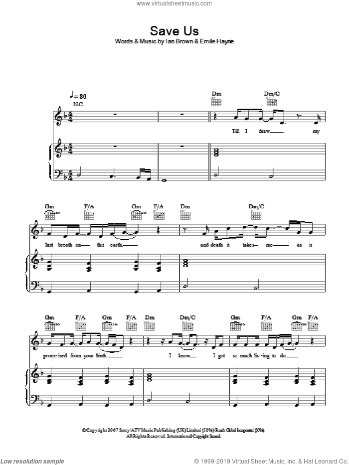 Save Us sheet music for voice, piano or guitar by Ian Brown and Emile Haynie, intermediate skill level