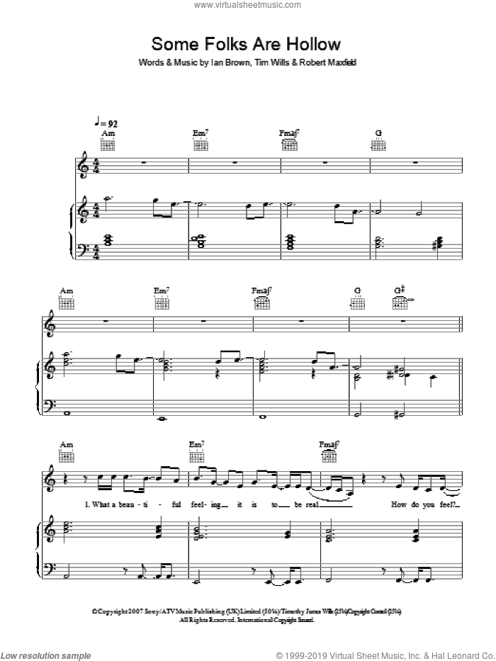 Some Folks Are Hollow sheet music for voice, piano or guitar by Ian Brown. Score Image Preview.
