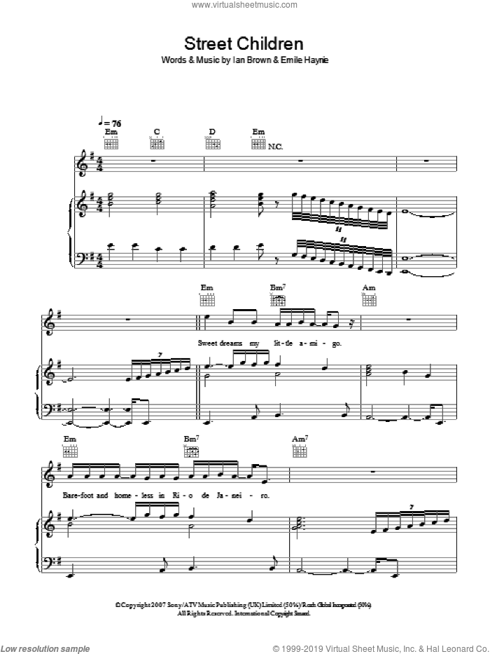 Street Children sheet music for voice, piano or guitar by Ian Brown and Emile Haynie, intermediate. Score Image Preview.