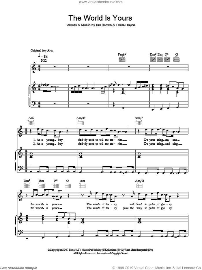 The World Is Yours sheet music for voice, piano or guitar by Ian Brown and Emile Haynie. Score Image Preview.