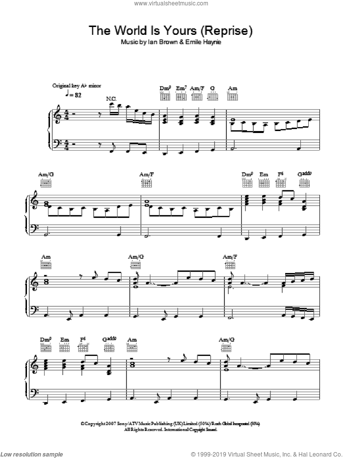 The World Is Yours (Reprise) sheet music for voice, piano or guitar by Emile Haynie