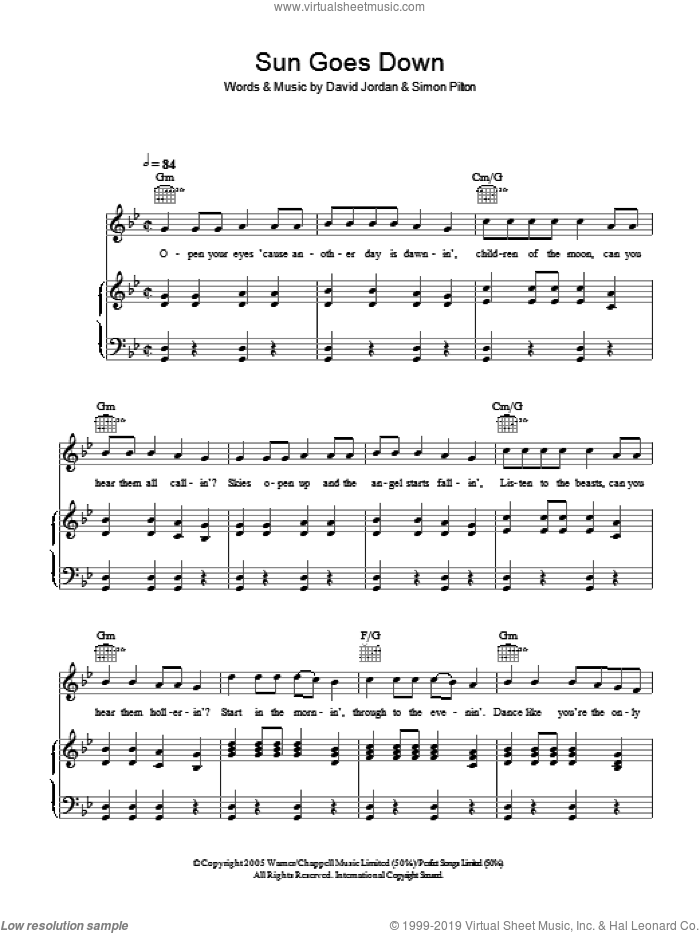 Sun Goes Down sheet music for voice, piano or guitar by Simon Pilton. Score Image Preview.