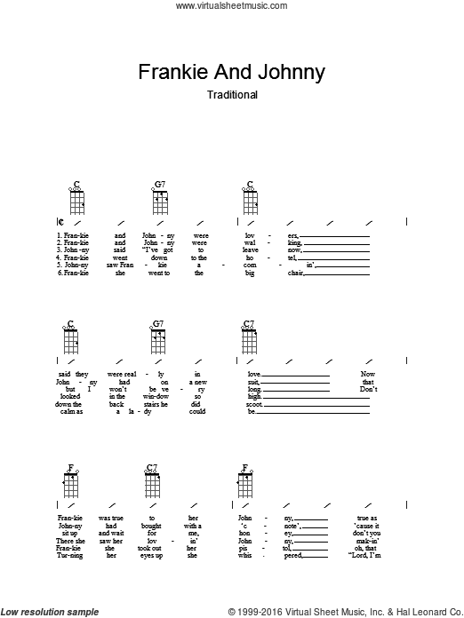 Frankie And Johnny sheet music for guitar (chords). Score Image Preview.