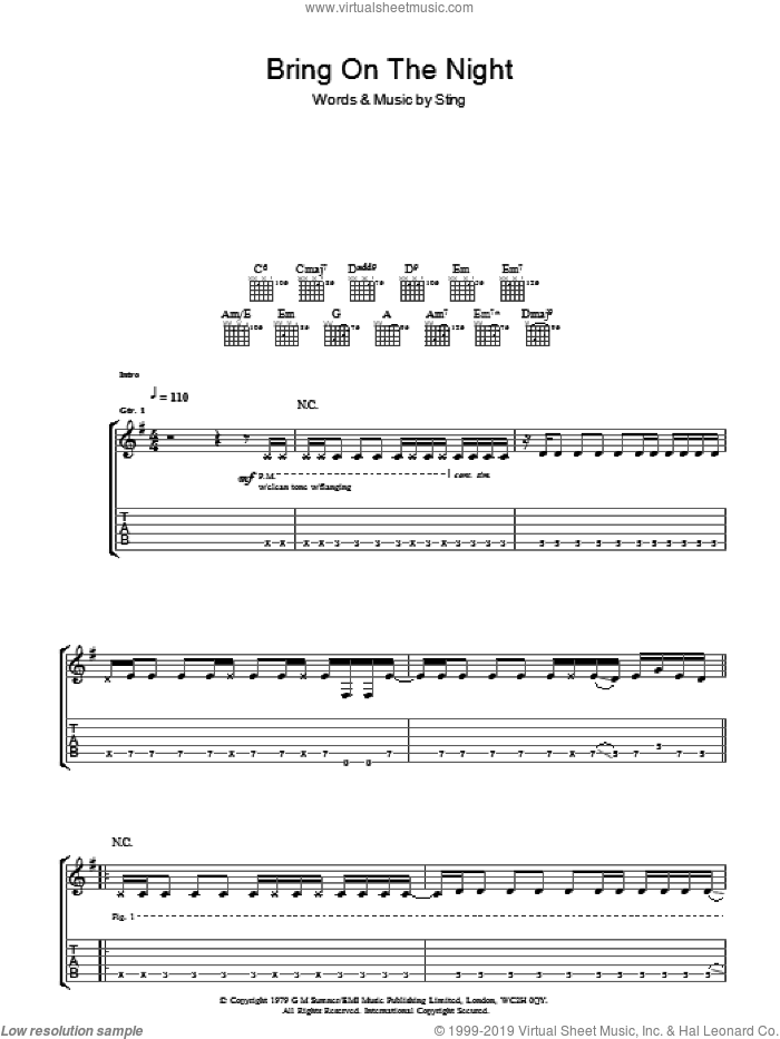 Bring On The Night sheet music for guitar (tablature) by The Police and Sting, intermediate. Score Image Preview.