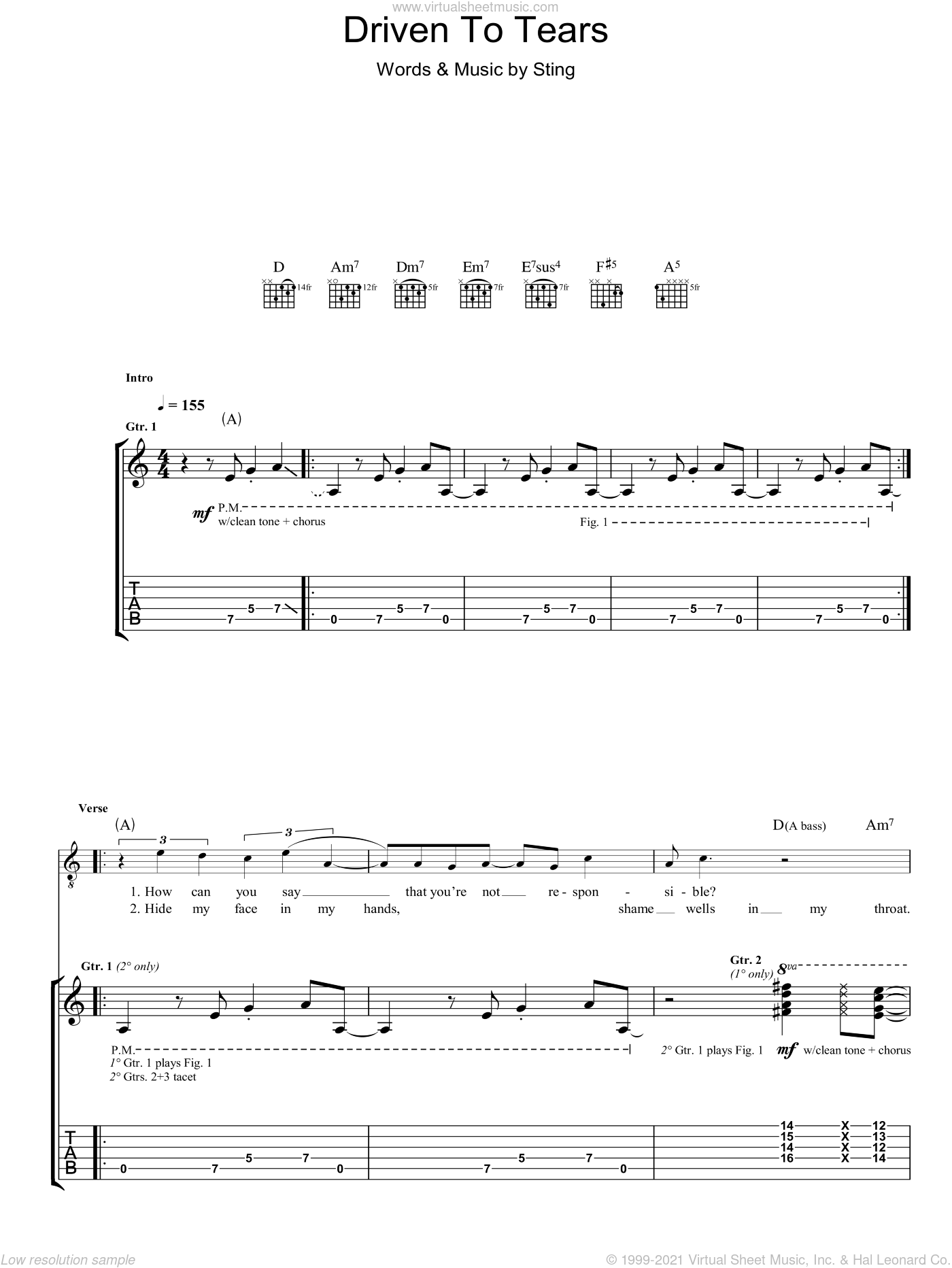 Driven To Tears sheet music for guitar (tablature) by The Police and Sting, intermediate