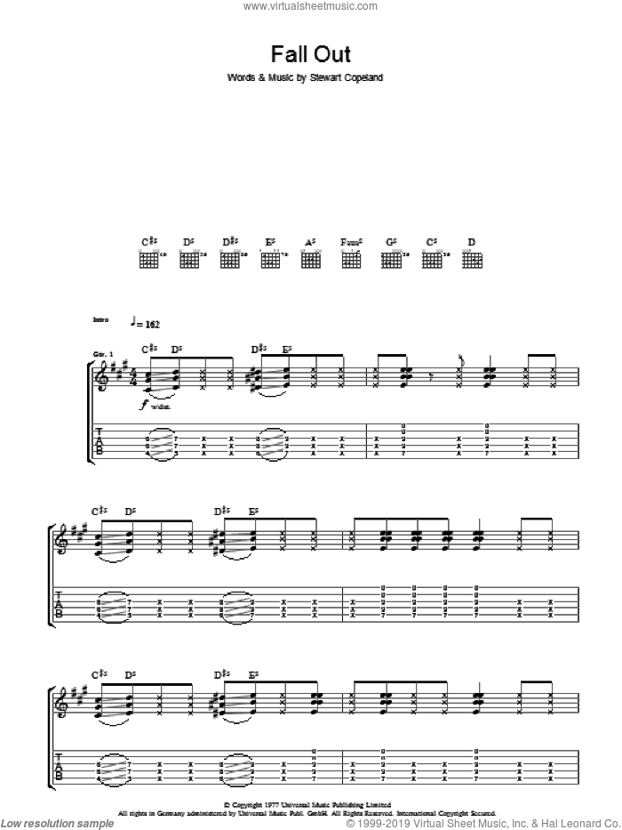 Fall Out sheet music for guitar (tablature) by The Police. Score Image Preview.