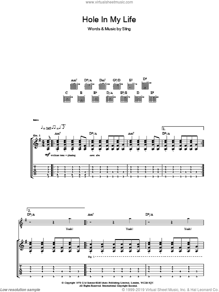 Hole In My Life sheet music for guitar (tablature) by The Police and Sting. Score Image Preview.