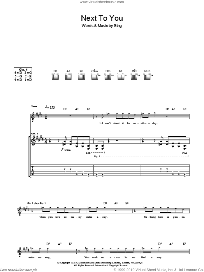 Next To You sheet music for guitar (tablature) by The Police and Sting. Score Image Preview.