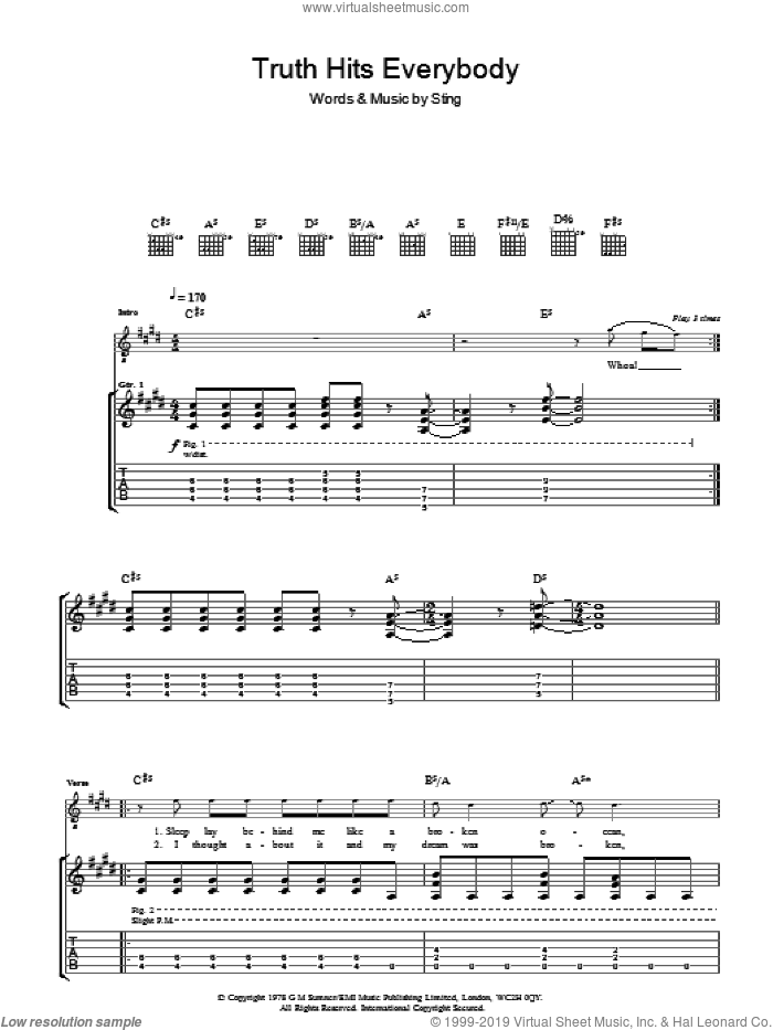 Truth Hits Everybody sheet music for guitar (tablature) by Sting and The Police. Score Image Preview.