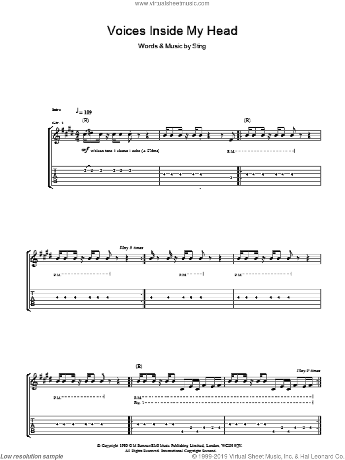 Voices Inside My Head sheet music for guitar (tablature) by The Police and Sting, intermediate skill level