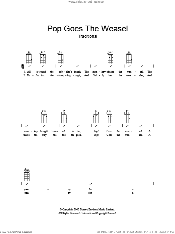 Pop Goes The Weasel sheet music for guitar (chords), intermediate skill level