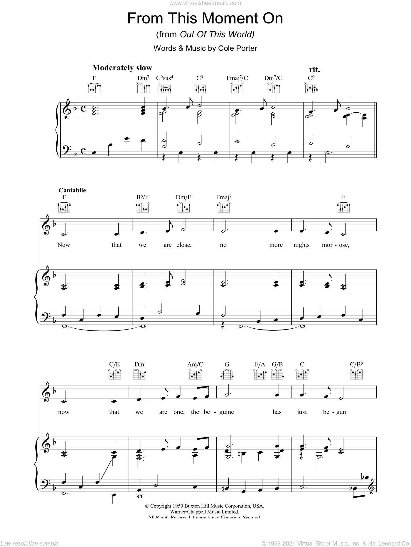 From This Moment On (from Kiss Me, Kate) sheet music for voice, piano or guitar by Cole Porter, intermediate skill level
