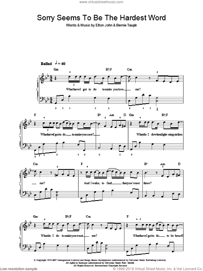 Sorry Seems To Be The Hardest Word sheet music for piano solo by Elton John and Bernie Taupin, easy piano. Score Image Preview.