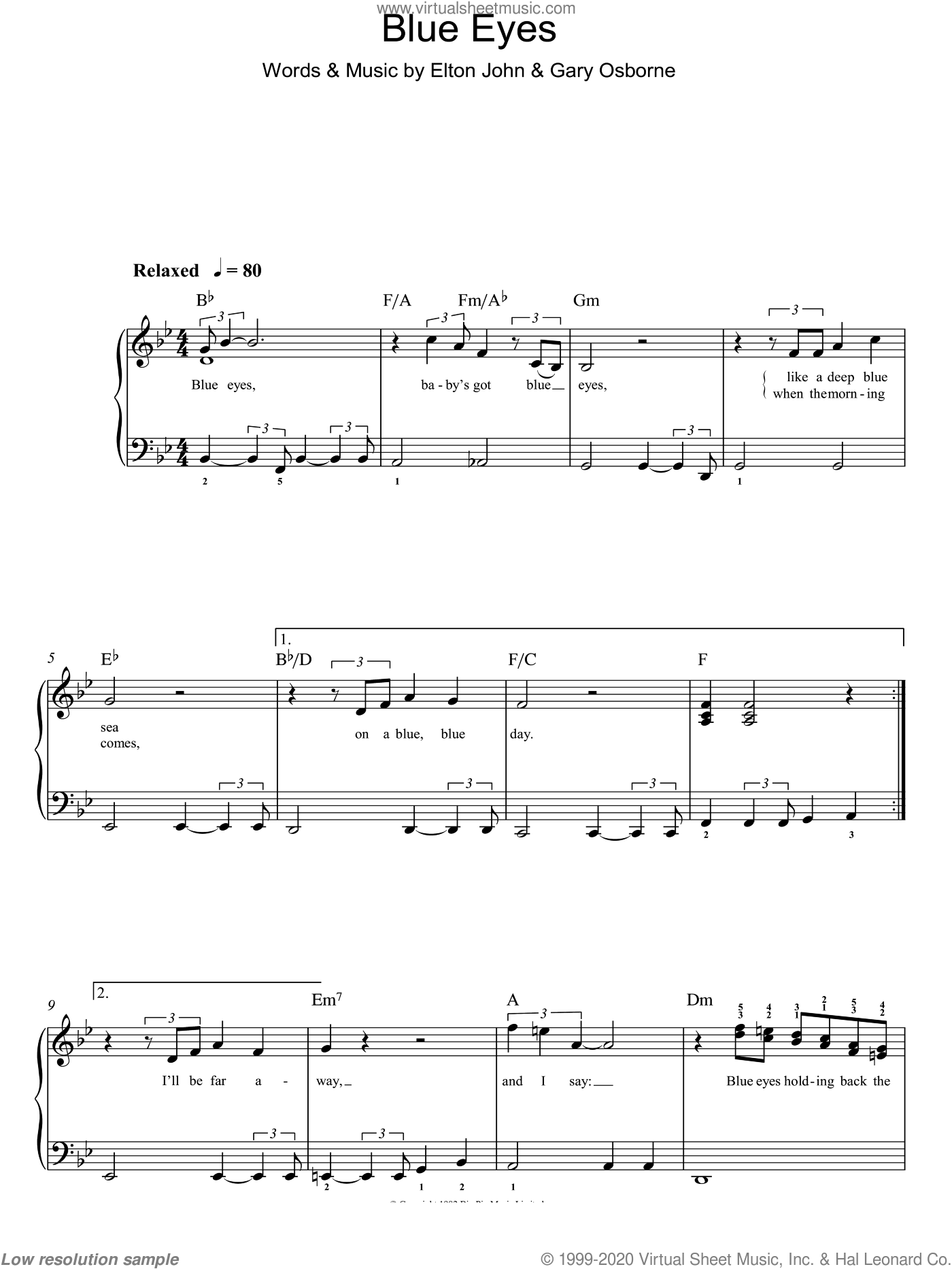 Blue Eyes sheet music for piano solo by Elton John and Gary Osborne, easy skill level
