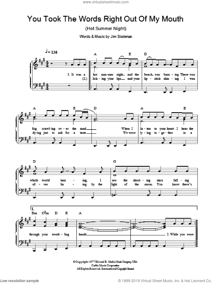 You Took The Words Right Out Of My Mouth (Hot Summer Night) sheet music for piano solo by Meat Loaf and Jim Steinman, easy. Score Image Preview.