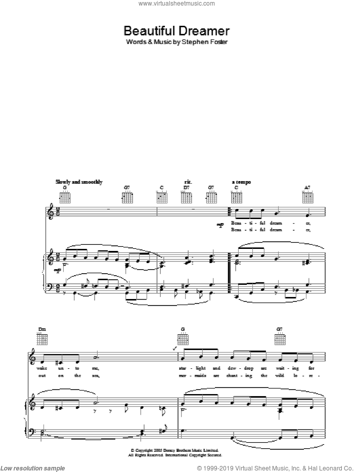 Beautiful Dreamer sheet music for voice, piano or guitar by Stephen Foster, intermediate. Score Image Preview.
