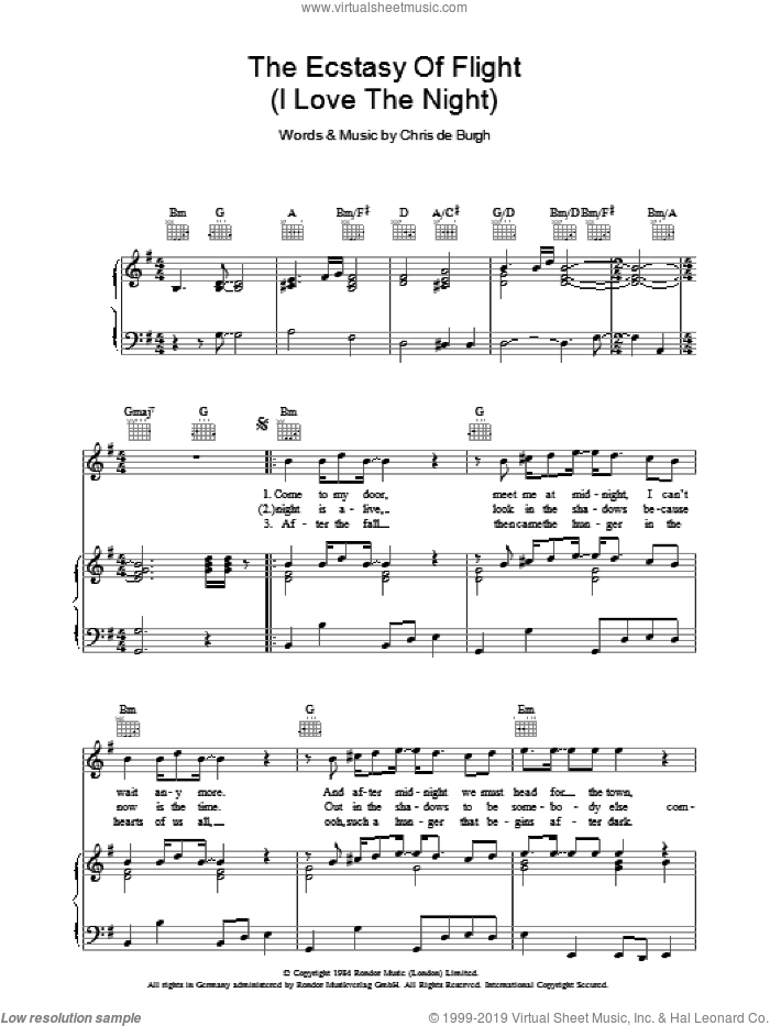 The Ecstasy Of Flight (I Love The Night) sheet music for voice, piano or guitar by Chris de Burgh, intermediate. Score Image Preview.