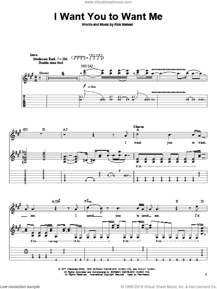 I Want You To Want Me sheet music for guitar (tablature, play-along) by Rick Nielsen, Cheap Trick and Dwight Yoakam. Score Image Preview.