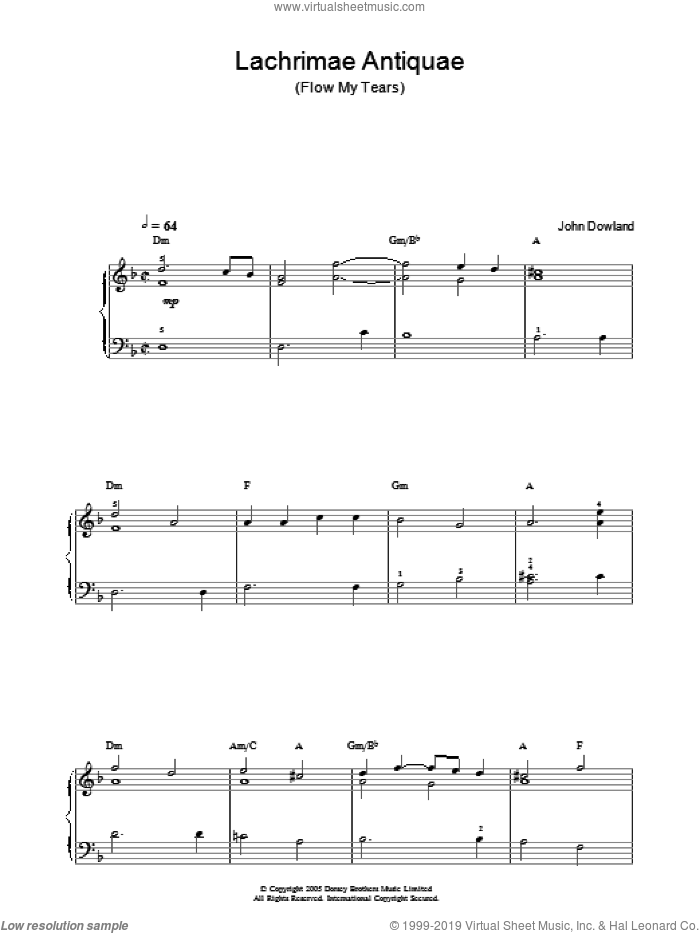 Lachrimae Antiquae (Flow My Tears) sheet music for piano solo by John Dowland. Score Image Preview.