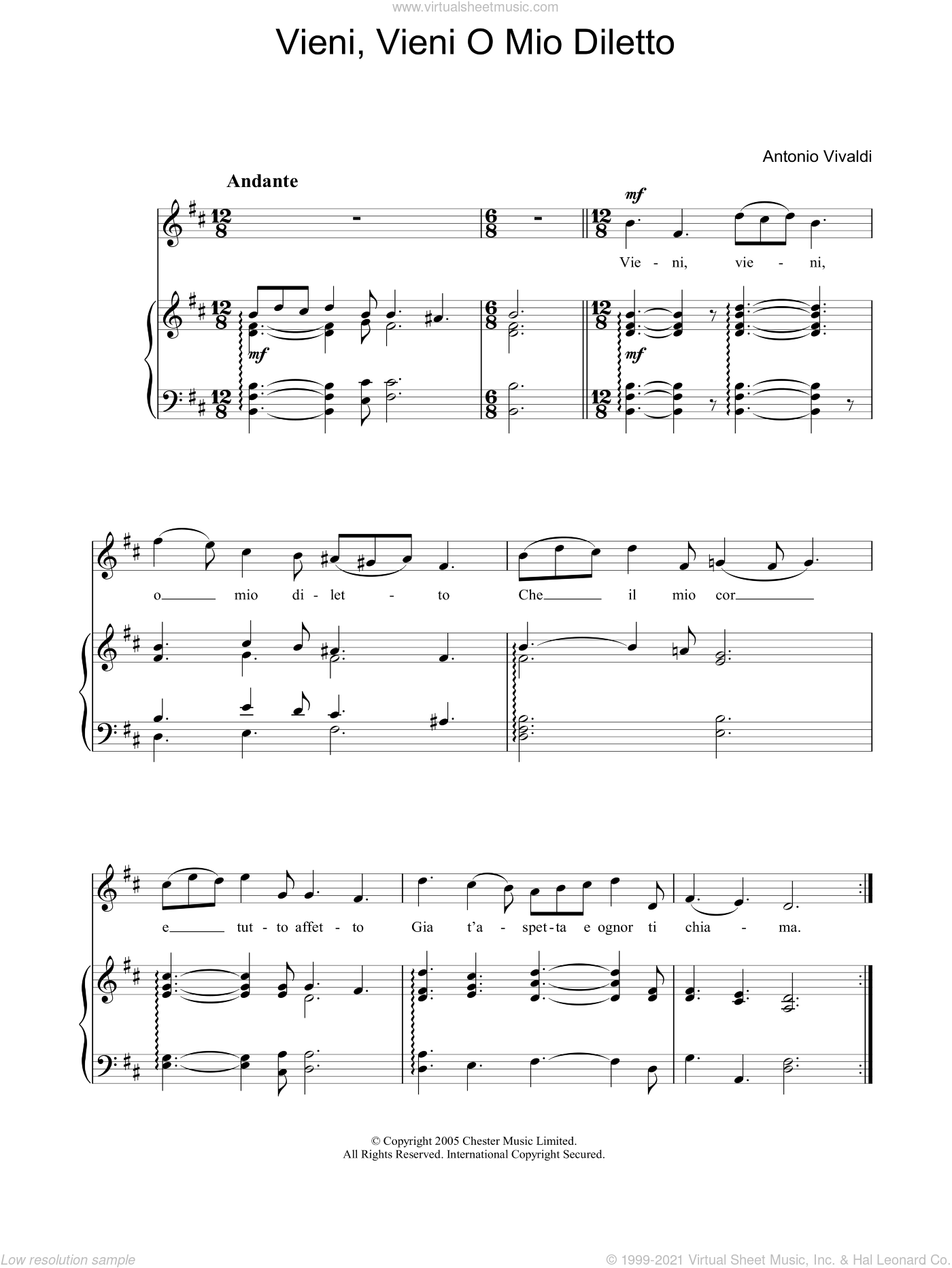 Vieni, Vieni O Mio Diletto sheet music for piano solo (chords) by Antonio Vivaldi