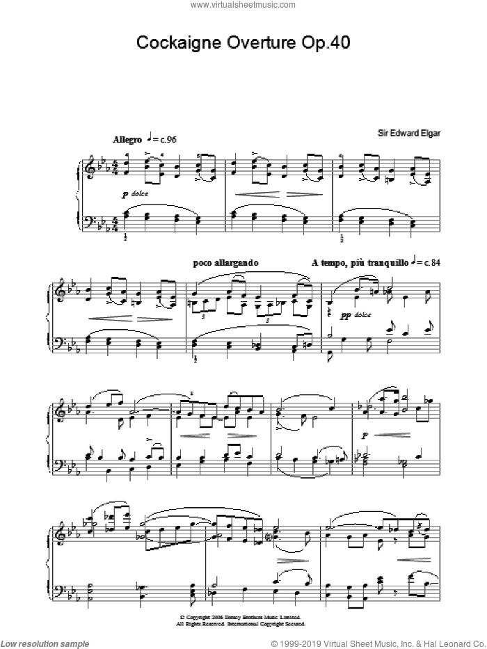 Cockaigne Overture Op.40 sheet music for piano solo by Edward Elgar. Score Image Preview.