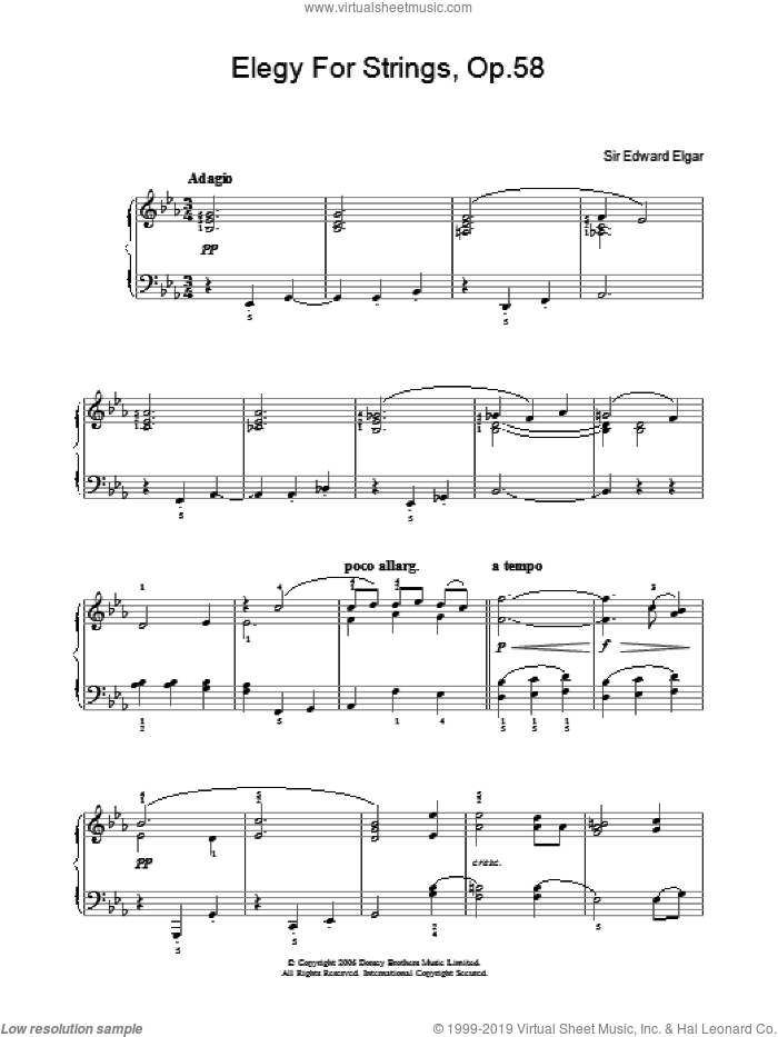 Elegy For Strings, Op.58 sheet music for piano solo by Edward Elgar. Score Image Preview.