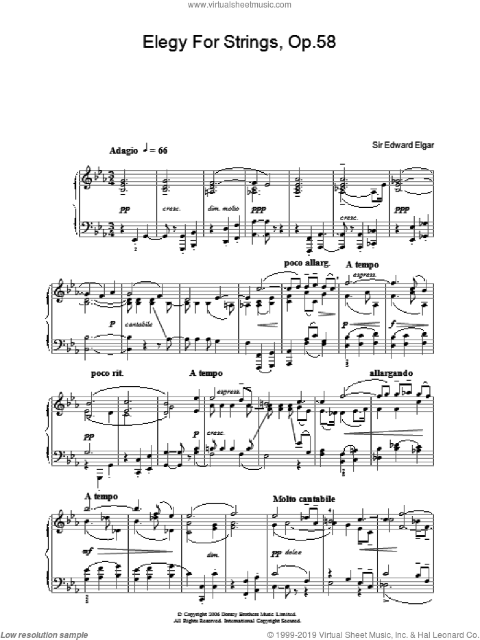 Elegy For Strings, Op.58 sheet music for piano solo by Edward Elgar