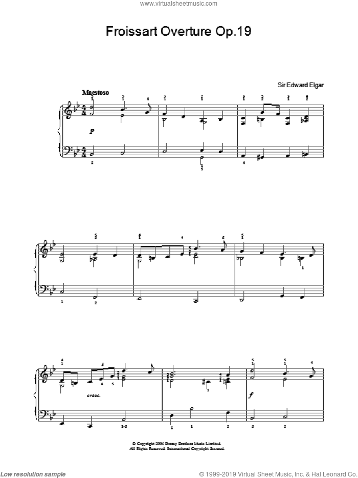 Froissart Overture Op.19 sheet music for piano solo by Edward Elgar. Score Image Preview.