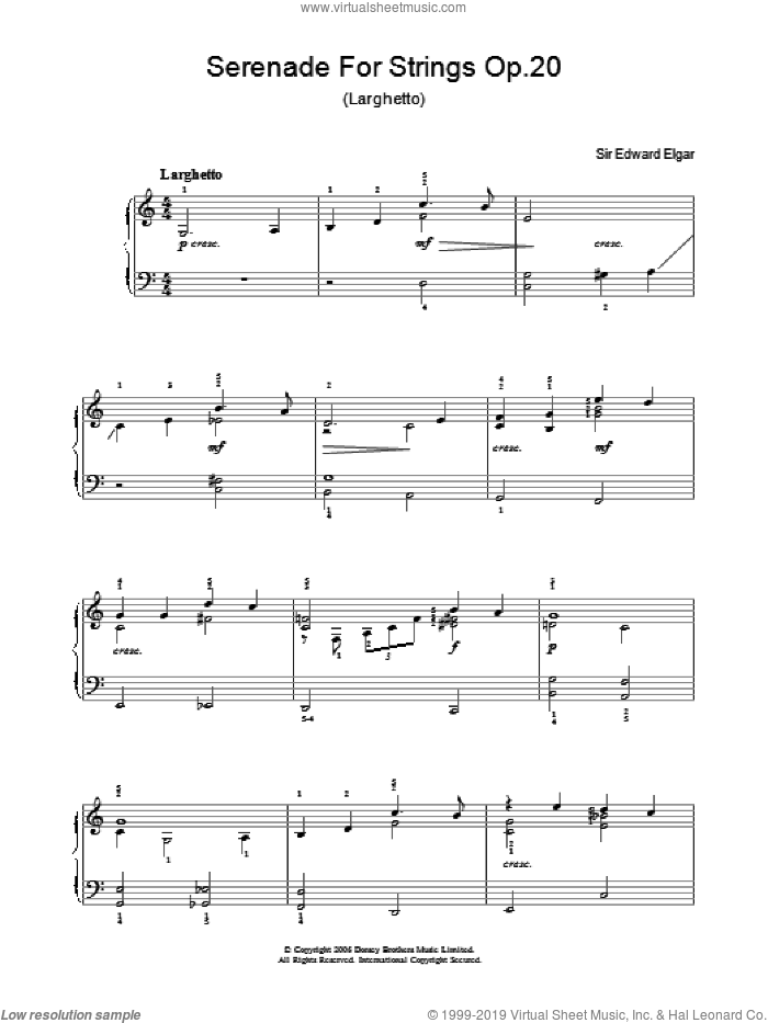 Serenade For Strings Op.20 (Larghetto) sheet music for piano solo by Edward Elgar, classical score, easy skill level
