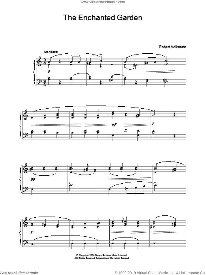 The Enchanted Garden sheet music for piano solo (chords) by Robert Volkmann